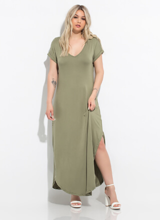 Get Comfortable Slit Maxi T-Shirt Dress