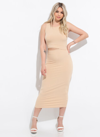 Peekaboo I See You Ribbed Cut-Out Dress