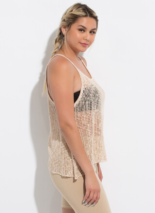 Great Catch Netted Sleeveless Swing Top