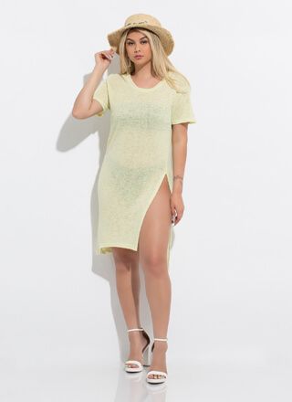 Beach Day Slit Knit Cover-Up Midi Dress