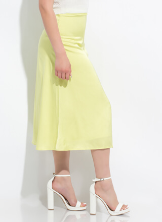 Perfect Polish Satin A-Line Midi Skirt