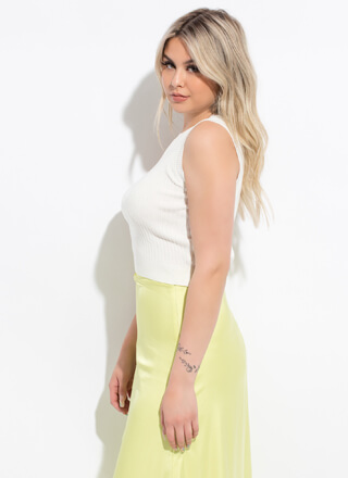 Easy Way Out Cropped Rib Knit Tank Top