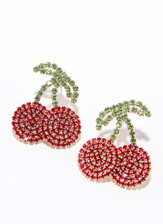 Cherry On Top Rhinestone Earrings