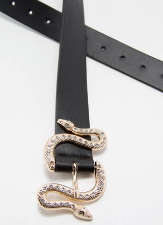 Slitherin' Jeweled Snake Buckle Belt