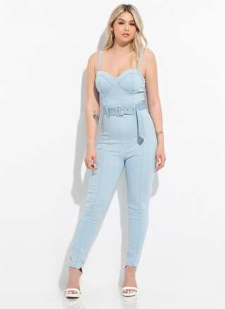 Denim Dream Belted Bustier Jumpsuit