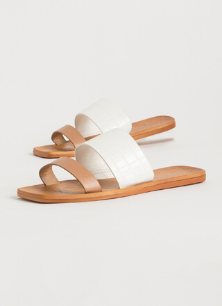 Chic Girls Contrast Panel Slide Sandals