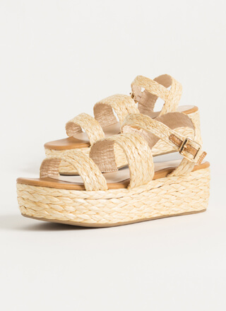 Natural Selection Braided Raffia Wedges