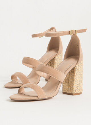 Private Villa Basketwoven Chunky Heels