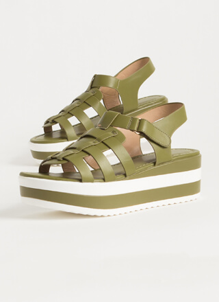Spring Vacation Striped Wedge Sandals