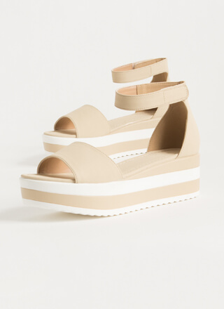 Summer Vacation Striped Wedge Sandals