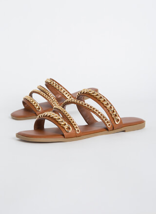Wrapped In Chains Strappy Slide Sandals