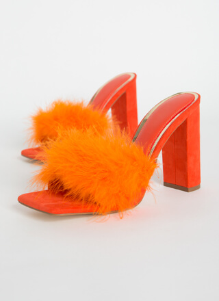 Boudoir Chunky Faux Feather Mule Heels