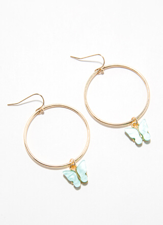 Feel Butterflies Dangling Hoop Earrings