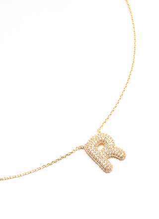 The Letter R Jeweled Charm Necklace