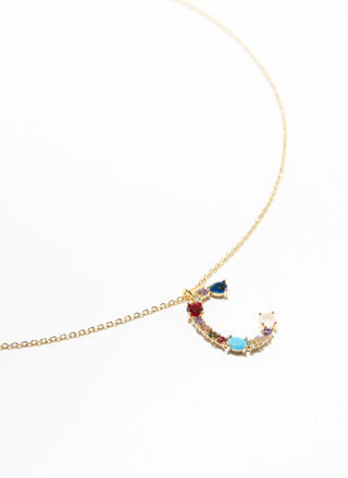 Letter C Gold-Dipped Gemstone Necklace