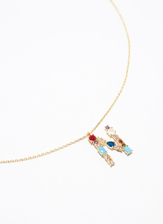 Letter N Gold-Dipped Gemstone Necklace