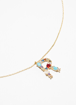 Letter R Gold-Dipped Gemstone Necklace