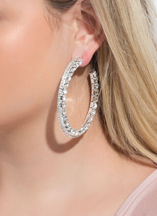 Glamorous Side Jeweled Partial Hoops