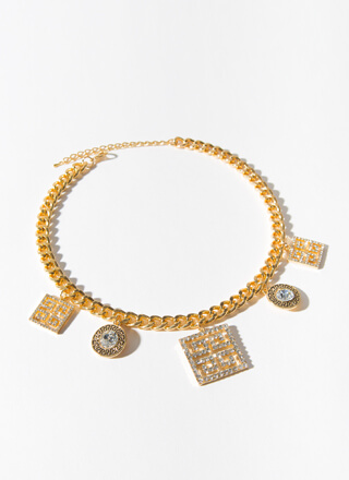 Icy Jeweled Greek Key Chain Choker