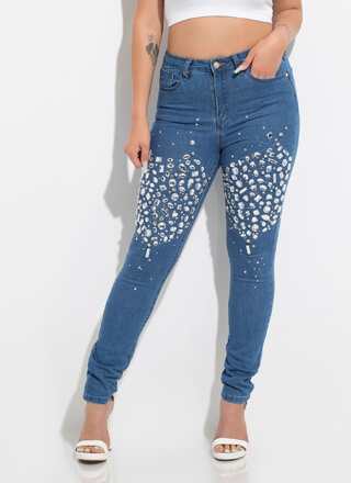 Crystal Ball Jeweled Skinny Jeans