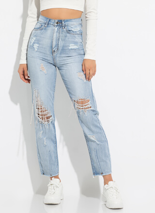 Pearl City Distressed High-Waisted Jeans