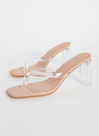 I Like Thongs Clear Lucite Chunky Heels