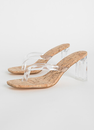 I Like Thongs Cork Lucite Chunky Heels