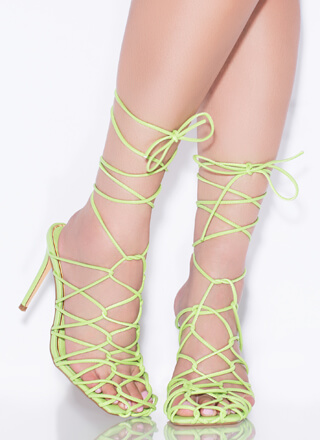 Catch Of The Day Netted Lace-Up Heels