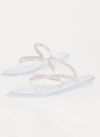 Easy Sparkle Jeweled Jelly Thong Sandals
