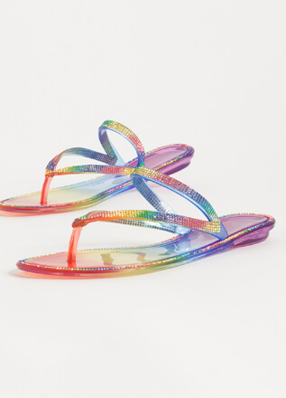 Easy Sparkle Rainbow Jelly Thong Sandals