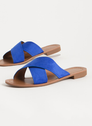 X-pectations Faux Suede Slide Sandals