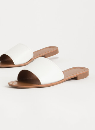 Simple Style Faux Leather Slide Sandals