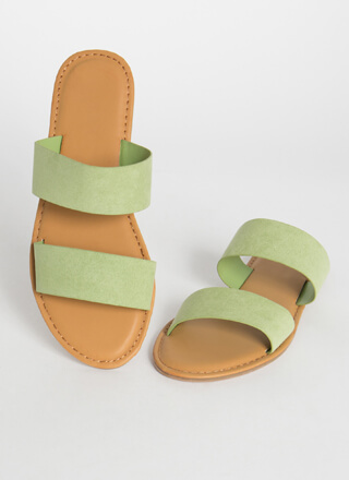 Poolside Party Faux Suede Slide Sandals