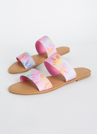 Poolside Party Tie-Dye Slide Sandals