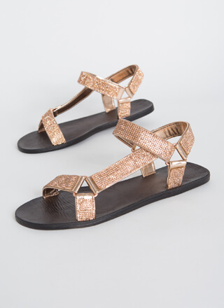 Out-Sparkle Rhinestone Strap Sandals
