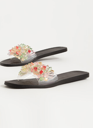 Uncover Gems Clear Jeweled Slide Sandals