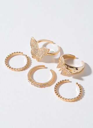 Monarch Jeweled Butterfly 5-Ring Set
