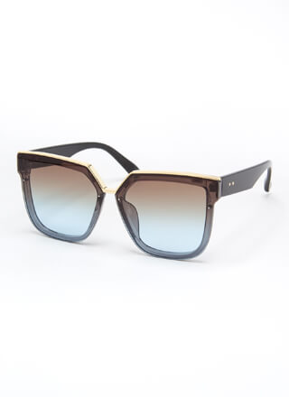 Gloss Over Metallic Trim Sunglasses