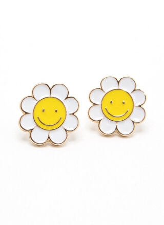 Happy Daisy Flower Charm Earrings