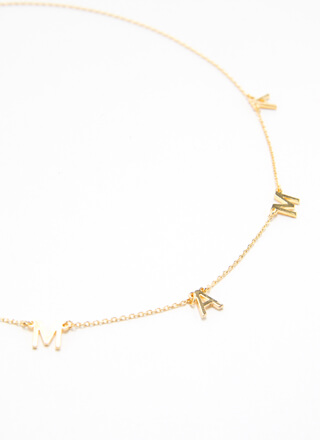 Hey Mama Gold-Dipped Letter Necklace
