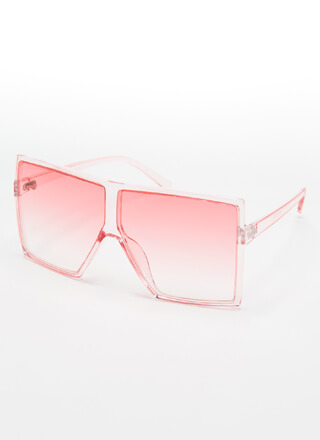 Big Time Clear Oversized Sunglasses