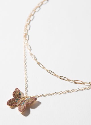 Fly Butterfly Jeweled Charm Necklace Set