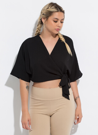 Queen Of Wrap Dolman Cropped Blouse