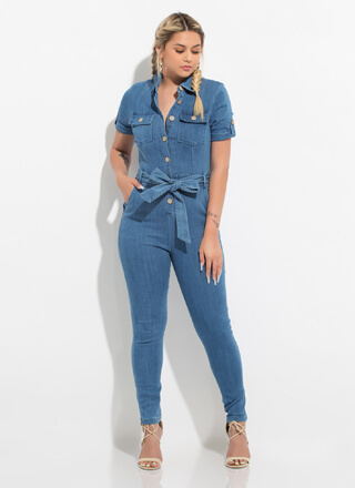 Do It In Denim Belted Button-Up Jumpsuit