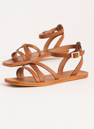 Step Out Strappy Faux Leather Sandals