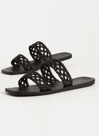 Lacy Sunday Woven Faux Leather Sandals
