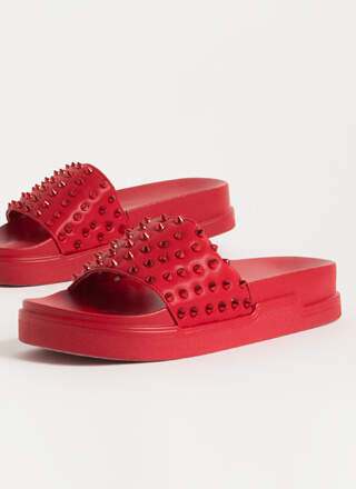 Spike It Studded Platform Slide Sandals