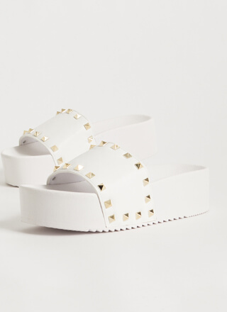 Get Thick Studded Platform Slide Sandals