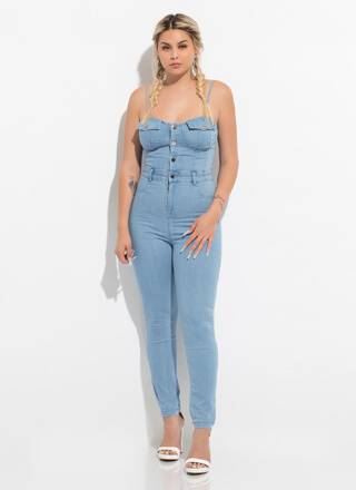 You're Busted Button-Up Denim Jumpsuit