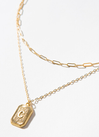 The Letter C Layered Charm Necklace